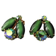 LOVELY Vintage Earrings,Art Glass Green Moonstones and Glittering Aurora Borealis Rhinestones Clip Ons,Cluster Earrings,Collectible Mid Century Jewelry