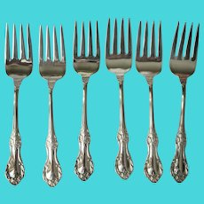 BEAUTIFUL Vintage Silver Plate Dessert Forks, Set of 6, Rogers Bros Silverware,Perfect For Tea Time,Luncheon,Fine Dining,Collectible Silver