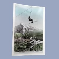 1940s REAL PHOTO Postcard Skiing Ski Interest,MT Norquay,Chair Lift,Banff,Alberta Canada,Collectible Vintage Postcards