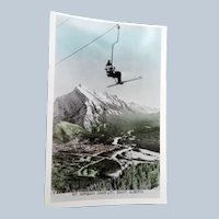 1940s REAL PHOTO Postcard Skiing Ski Interest,MT Norquay,Chair Lift,Banff,Alberta Canada,Collectible Vintage Postcards