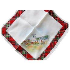 RESERVED Vintage SCOTTISH SOUVENIR HANDKERCHIEF Scotland Souvenir Hanky,Robert Burns Day Decor,Tartan Border Hankie,Outlander,Vintage Hankies
