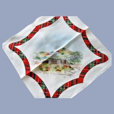 Vintage SCOTTISH SOUVENIR HANDKERCHIEF Scotland Souvenir Hanky,Robert Burns Day Decor,Tartan Border Hankie,Outlander,Vintage Hankies