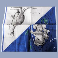 50s VINTAGE Printed Koalas Kangaroos Hanky,Australia Souvenir Handkerchief,Novelty Hanky,Collectible Hankies,Hankies To Collect,Frame,Gifts