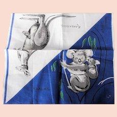 50s VINTAGE Printed Koalas Kangaroos Hanky,Australia Souvenir Handkerchief,Novelty Hanky,Collectible Hankies,Hankies To Collect,Frame,Gifts
