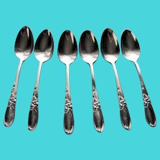 VINTAGE Lovely Teaspoons,WHITE ORCHID,Silver Spoons,Silver Plate Spoons,Demitasse Spoons Set,Flatware,Community Silver Plate,Set of 6