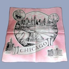 VINTAGE Art Deco Pink and Black Old CHICAGO Hanky Decorative Handkerchief,Wrigley Building, Michigan Ave etc,Frame It, Collectible Hankies