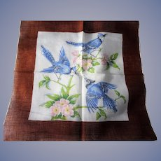 BEAUTIFUL Vintage Printed Hanky,BIRDS Hankie,Blue Jays,Blue Birds,Handkerchief,Lovely To Frame,Collectible Hankies