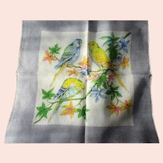 BEAUTIFUL Vintage Printed Hanky,BIRDS Hankie,PARROTS Handkerchief,Lovely To Frame,Collectible Hankies