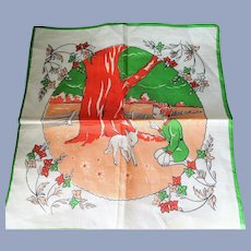 ADORABLE Vintage 1950s Hanky Childrens Handkerchief,Cute Girls Boys Hanky,Colorful Child's Hankie,Childrens Room Decor,Collectible Hankies