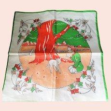 ADORABLE Vintage 1950s Hanky Childrens Handkerchief,Cute Girls Boys Hanky,Colorful Child's Hankie,Childrens Room Decor,Collectible Hankies
