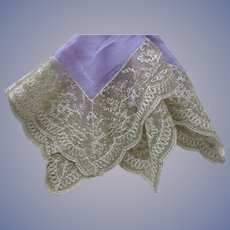 BEAUTIFUL  Antique French Lace Hanky, Lavender Chiffon and Beige Wide Lace Handkerchief,Tambour Lace,Collectible Hankies