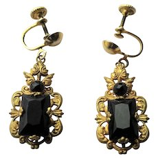 GORGEOUS Antique Czech Jet Glass and Filigree Metal Drop EARRINGS,Flapper Era,Faceted Black Glass,Collectible Vintage Jewelry