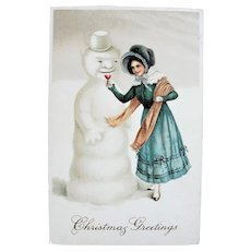 BEAUTIFUL Antique Postcard,Snowman and Lovely Lady Offering A Drink,Christmas Greetings Card,Never Used,Collectible Postcards