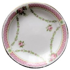 SWEET Antique English Transferware Butter Pat,Pink Roses Transferware,Aesthetic Movement,Grindley Porcelain,Farmhouse,French Country Decor