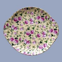 BEAUTIFUL Vintage English Chintz Cake Plate,PINK Roses on Yellow,Decorative Cake Plate, Lovely Serving Plate, Handled Chintz Floral Plate