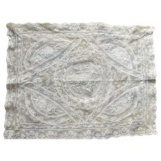 AMAZING Antique French Normandy Lace Tray Cloth,Gorgeous Lace Hand White Work Embroidery, Lace Boudoir Cloth,Chateau Decor,Collectible Lace