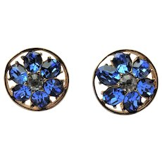 GORGEOUS Blue Crystal Earrings,Vintage CORO signed Earrings,Screw Back Earrings,Mid Century Collectible Jewelry