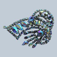 Vintage UNIQUE Design Brooch,Glittering AB BLUE Rhinestones,Multi Layered Large Brooch,Dazzling Swarovski Crystal,1950s Collectible Jewelry
