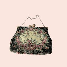 LOVELY Vintage French Tapestry Purse,Pink Roses Flowers Handbag,Filigree Closing,Chateau Decor,Collectible Purses