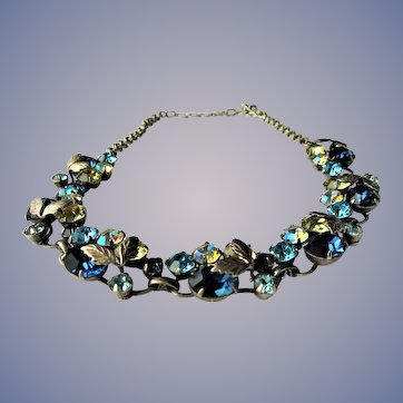 GORGEOUS Mid Century Necklace, Sparkling Faceted Crystal Stones,Blues,Champagne, Ab Stones,Intricate Silver Tone Metal, Collectible Jewelry
