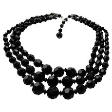 LOVELY Glittering French Jet Triple Strand Necklace,Vintage Graduated Black Glass Beads, Mid Century Beaded Necklace,Collectible Jewelry