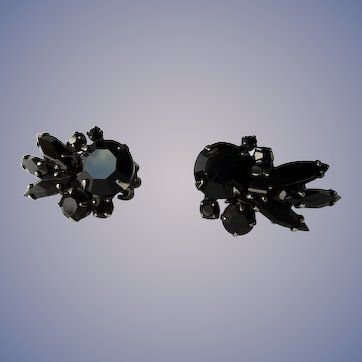 1950s GLITTERING French Jet Earrings, Signed Sherman,Lovely Black Glass Clip On Earrings,Faceted Stones,Collectible Vintage Jewelry
