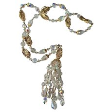 BEAUTIFUL Signed SHERMAN Swarovski Crystal Pendant Necklace,Dazzling AB Crystal Beads and Gold Tone Filigree Necklace,Collectible Mid Century Jewelry