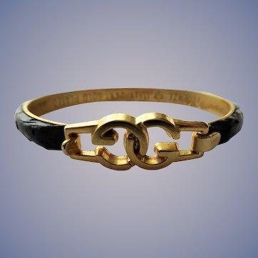 FABULOUS Vintage Gucci Snakeskin Bracelet,24kt Plated, Made in Florence Italy,Black Snakeskin Bangle Bracelet, Collectible Jewelry