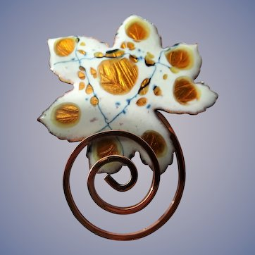 AMAZING Eames Era Atomic Matisse Renoir Copper White Enamel Leaf Brooch Pin FAB Vintage Costume Jewelry