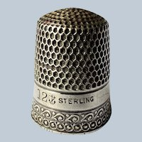 BEAUTIFUL Antique Thimble,Sterling Silver,Heavily Engraved Honey Comb Pattern,Collectible Sewing Needlework Tools