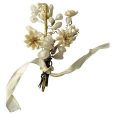 Antique WAX BOUTONNIÈRE Wax Flowers,Wedding Wax Flowers,Vintage Wedding,Wax Flower Headpiece,Wedding Headpiece,Antique Wax Flowers