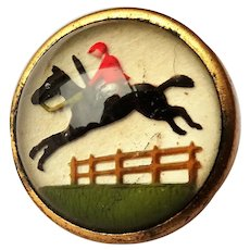 Antique ESSEX CRYSTAL Style Button,Steeplechase Race Horse Jockey, Reverse Detail Painted Glass,Equestrian Fox Hunt,Collectible Buttons