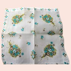 CHARMING Vintage Printed Floral Hanky Colorful Flowers Handkerchief To Frame Collectible Hankies,1950s Hankies, 1950s Hanky, 1950s Handkerchiefs, Mid Century Hankies