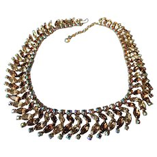 GORGEOUS Signed SHERMAN Necklace,Prong Set,Citrine,Topaz,AB Brilliant Rhinestones,Dazzling Swarovski Crystal,Collectible Glittering Jewelry