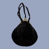 FABULOUS Vintage 1930s Velvet Evening Bag Purse,Lovely Frame and Kiss Clasp,Collectible Purses Hand Bags
