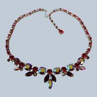 ELEGANT SHERMAN Signed RED and Aurora Borealis Rhinestones Necklace,Swarovski Crystal,1950s Necklace,Vintage Mid Century Collectible Jewelry