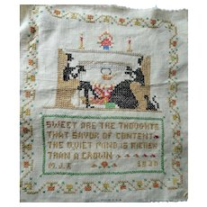 ART DECO 1930s Linen Embroidered Sampler,Charming Farmhouse,French Country,Kitchen Decor,Decorative Wall Hanging,House Warming Gift
