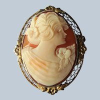 BEAUTIFUL Antique Cameo Brooch,Hand Carved Shell Cameo,Ornate Gilt Silver Setting,Pin or Pendant,Collectible Antique Cameos,Vintage Jewelry