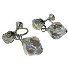 GORGEOUS Vintage Cut Crystal Drop earrings,Dazzling Swarovski Crystal Earrings, Screw Back Earrings,Mid Century Collectible Jewelry