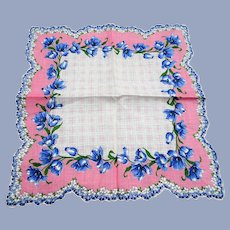 BEAUTIFUL Vintage Printed Floral Hanky, Pink Blue Flowers,Handkerchief To Frame,Collectible Hankies,1950s Hankies, 1950s Hanky, 1950s Handkerchiefs, Mid Century Hankies