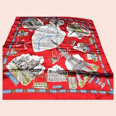STRIKING Souvenir Scarf,City of PARIS Points of interest Scarf,Colorful European Scarf,Wear It or Frame it,Collectible Vintage Scarves