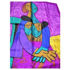 "DRAMATIC Picasso Abstract Silk Scarf,Portrait Scarf ""Femme Assise"",Wall Decorations,Huge Colorful Modernist Scarf,Frame It or Wear It Scarf, Collectible Vintage Silk Scarves"