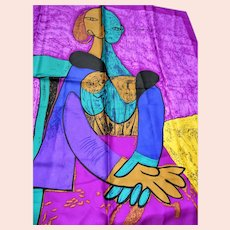 """DRAMATIC Picasso Abstract Silk Scarf,Portrait Scarf """"Femme Assise"""",Wall Decorations,Huge Colorful Modernist Scarf,Frame It or Wear It Scarf, Collectible Vintage Silk Scarves"""