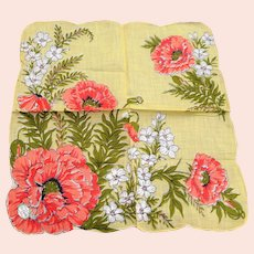 BEAUTIFUL Vintage Printed Floral Hanky, CAROL STANLEY Poppy Flowers,Handkerchief To Frame,Collectible Hankies,1950s Hankies, 1950s Hanky, 1950s Handkerchiefs, Mid Century Hankies