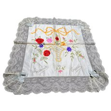 BEAUTIFUL Antique French Ribbon Roses Flowers Souvenir Pillow Case,Gorgeous Handworked Ribbon Flowers,Wide French Lace,WWI Gift From France
