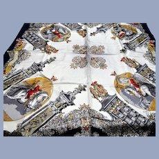 LUXURIOUS Designer Large Silk Scarf,Vintage Heinrich Hrdlicka Designer,Vienna Equestrian Theme, Lovely Colors,Collectible Vintage Scarves