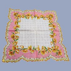 BEAUTIFUL Vintage Printed Floral Hanky, Yellow Gold Flowers,Pink Handkerchief To Frame,Collectible Hankies,1950s Hankies, 1950s Hanky, 1950s Handkerchiefs, Mid Century Hankies