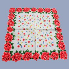 BEAUTIFUL Vintage Printed Floral Hanky,Red Rose Flowers,Chintz Handkerchief To Frame,Collectible Hankies,1950s Hankies, 1950s Hanky, 1950s Handkerchiefs, Mid Century Hankies