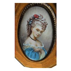 BEAUTIFUL Vintage Hand Painted Portrait Miniature Painting Picture of a Lovely Lady in Velvet Frame, French Decor, Chateau Decor, Collectible