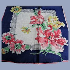 BEAUTIFUL Vintage Printed Floral Hanky,Lush Flowers,Bold Floral Handkerchief To Frame,Collectible Hankies,1950s Hankies, 1950s Hanky, 1950s Handkerchiefs, Mid Century Hankies